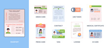 Legal Id Passport. Personal Documents Credit Or Debit Cards Immigration Information Stickers Personality Photo Green Card Garish Vector Template