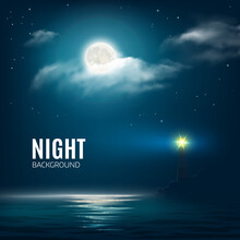 Night Nature Cloudy Sky With Stars Moon Calm Sea With Lighthouse