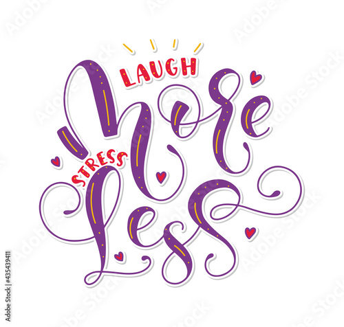 Laugh more stress less, multicolored lettering with doodle elements фототапет