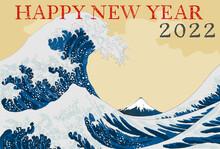 New Year's Card. Ukiyo-e Style, Ukiyoe (Japanese Woodblock Prints), Fuji Mountain, Sea, Wave, Snow, Mountain, Vector Illustration, Copy Space, Katsushika Hokusai, Vertical, Big Wave, Retro, 2022