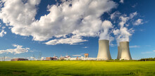 Nuclear Power Plant Temelin, Cooling Towers With White Water Vapor In The Landscape, Czech Republic