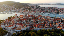 Croatia. The Historical Ancient City Of Trogir, With A Unique Cluster Of Palaces, Temples, Towers, Ancient Buildings. The Trogir Canal Connects It With The Modern Quarters Of The Island Of Ciovo