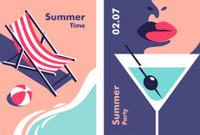 Summer Party, Vacation And Travel Concept. Vector Flyer Or Poster Design In Minimalistic Style.