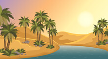 Oasis In The Middle Of The Desert. Palm Trees, Pond And Sands Of Arabia. Egypt Hot Dunes With Palm Trees