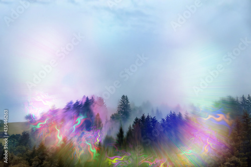 View of mountain forest and flashing lights effect Fototapet