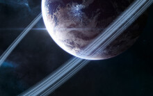 Inhabited Planet In Deep Space. Beautiful Cosmic Landscape. Science Fiction. Elements Of This Image Furnished By NASA