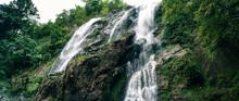 Wide Anamorphic Shot Of Waterfall In Khong Lan, Thailand.