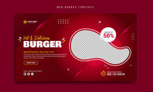 Fast Food Restaurant Web Banner Template Design. Healthy Burger Online Sale Promotion Cover Or Flyer. Website Creative Graphic Background With Logo & Icon. Social Media Marketing Video Thumbnail.