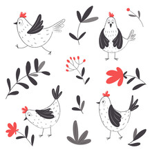 Cute Hens And Plant Elements In Cartoon Style.