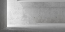 Abstract Empty, Modern Concrete Room With Indirect Lighting From Left With Sloped Wall And Rough Floor - Industrial Interior Background Template