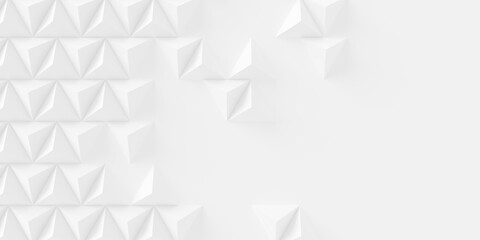 Random shifted white pyramids background wallpaper banner pattern with copy space, flat lay top view from above