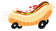 Fast Food Delivery. A Hot Dog With Wheels Travels At A Speed. An Appetizer For A Sports Show. Vector Flat Hot Dog.