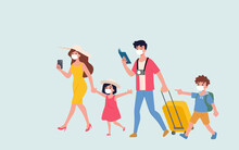 The Happy Family Start To Travel Around The World With Wearing Masks To Protect Themselves From The Corona, Covid-19 Virus. A New Beginning Of Tourism In The New Normal Era.