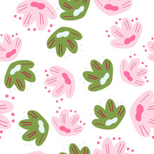 Isolated Seamless Botanic Pattern With Random Pink And Green Flowers Naive Shapes. White Background.