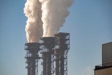 Smoke From Chimneys Of A Metallurgical Enterprise. Ecological Concept.