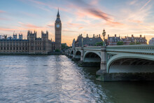London Skyline At Sunset With View Of Westminster Bridge And Big Ben Along The River Thames