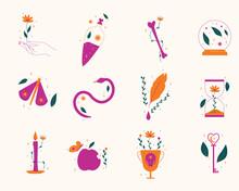 Set D'illustrations Vectorielles, D'icônes, Sur Le Thème De La Magie Et De L'été. Illustrations Inspirées De La Nature Et De L'occulte.