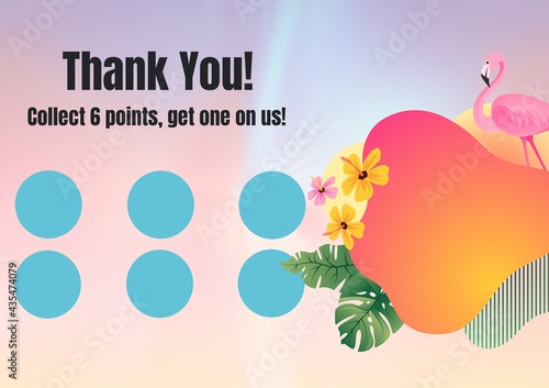 Fototapeta premium Composition of thank you text with six dots for loyalty stamps with flamingo and exotic pattern
