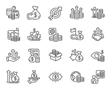 Finance Line Icons. Accounting Coins, Budget Investment, Trade Strategy Icons. Finance Management, Budget Gain And Business Asset. Money Economy, Loan In Dollars And Treasure Map. Vector