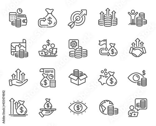 Canvas Print Finance line icons