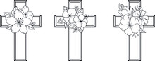Religion Cross Icon Set Isolated On White Background. Collection Of Christian Symbol Design. Decorated Crosses Signs Or Ornamented Crosses Symbols. Vector Illustration