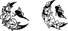 Set Of Ethnic Crescent Moon With Fantastic Creatures. Collection Of Moon With Mandala. Design For Drawing With Henna. Vector Illustration Of A Cosmic Body With Fairy-tale Characters.