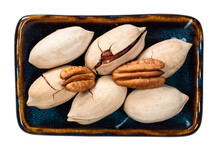 Top View Of Pecan Nuts In Bowl Cutout On White