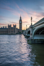 Big Ben And Westminster Bridge At Sunset, London, United Kingdom