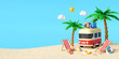 Summer vacation concept, Travel to the beach by van carrying travel accessories under palm tree with beach chair, 3d illustration