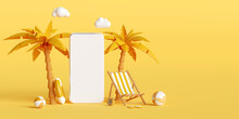 Summer Vacation Concept, Smartphone Mockup With Beach Chair And Beach Accessories, Hotel Resort Restaurant Ticket Tour Booking Reservation App On Smartphone, 3d Illustration