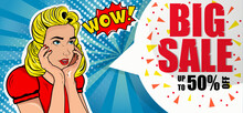 Sale Up To 50% Off. Discounts. Girl In Retro Style. Red Dress. Pop Art. Blonde. Beautiful Banner.Vector. Invitation. Shopping Center. Blue Background