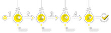 Infographic Timeline With Lamp Light Bulbs And Icons. 4 Steps Idea Journey Path Concept Of Business Project Process. Infographic Path Timeline. Business Journey Goal. Continuous Line Bulbs. Vector