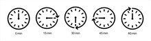 Timer Icons On A White Background, Countdown In The Form Of A Timer On A White Background In A Flat Style, Icon, Sport, Watch, Editable Stroke