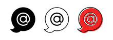 The Character Set For The Dog In The Speech Bubble Is @. The Internet Symbol Is The Separator Between The Username And The Domain In The Email Address. Vector Elements