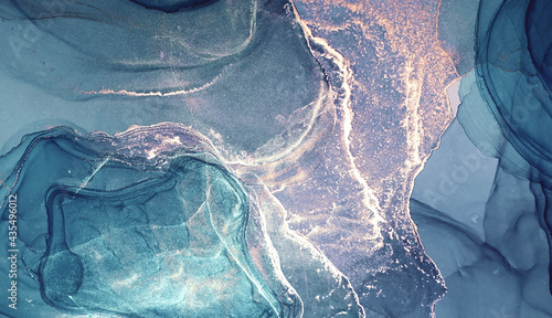 Obraz na płótnie Alcohol ink blue silver colors translucent