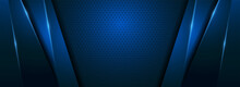 Modern Blue Background With Futuristic Overlap Layered Style Concept.