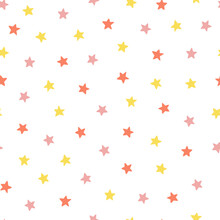 Seamless Pattern With Five-pointed Stars On A White Background.