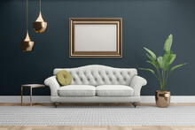 Dark Grey Gray Room With Gold Accents And Empty Frame For Mockups