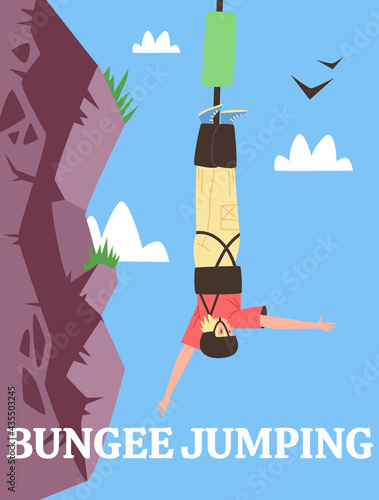 Fotografia Poster for advertise extreme sport or fun adrenaline entertainment bungee jumpin
