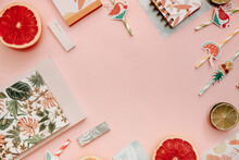 Flat Lay Summer Tropical Background. Workspace With Supplies. Top View, Copy Space