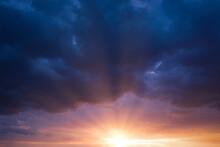 Cancer Blue Stormy Sky With Sun Rays.