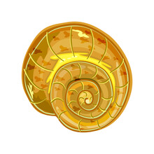 Shell Isolated On White Background. Conch Icon. Snail House. Empty Sea Clam Shell. Underwater Life Object. Marine Inhabitant. Ocean Symbol. Stock Vector Illustration