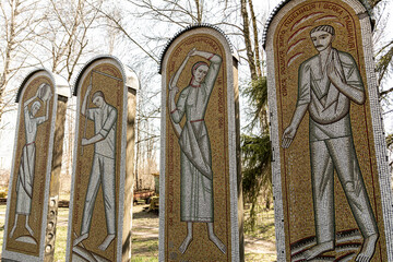 Monuments with mosaics in the style of the Soviet era