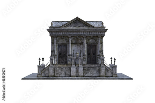 Fotografie, Obraz Old baroque building, a mausoleum with stairs and lanterns on a white background, which is isolated from multiple angles for collage and further edits