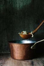 Chicken Noodle Soup In Copper Pot