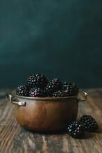 Blackberries In Copper Bowl