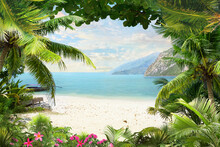 Mountain View And Blue Sea View With Palm Trees2