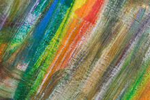 Abstract Rainbow Multicolored Background Formed By Erasing Paints From The Canvas, Short Focus. Not An Art Object, Temporary Effect.