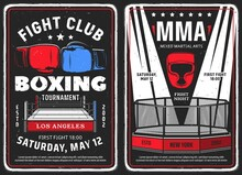 Boxing And Mixed Martial Arts Club Grunge Posters. Boxing Ring And Gloves, MMA Octagon Cage And Light Beams. Fighting Club Tournament, Sport Competition Retro Vector Banner Or Grungy Flyer Template