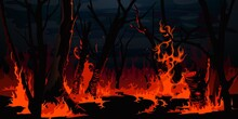 Forest Fire, Burning Trees At Night Wood. Vector Wildfire Burnt Landscape, Nature Disaster, Ecology Catastrophe. Red Flame On Grass And Black Tree Trunks Or Branches In Forest, Environment Destruction